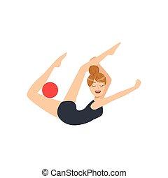 professionale, ginnastiche ritmiche, sportiva, in, nero, leotard, compiendo, un, elemento, con, palla, apparato