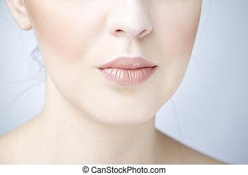 professionale, labbra, trucco, bellezza