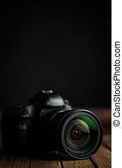 professionale, macchina fotografica, lens.