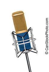 professionale, microfono, isolato, vendemmia