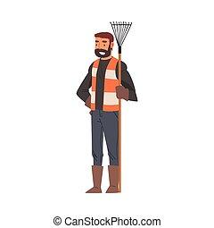 professionale, personale, pulizia, custode, maschio, carattere, apparecchiatura, illustrazione, servizio, rastrello, uomo, vettore, standing, ditta
