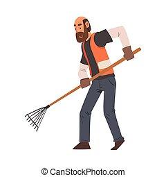 professionale, personale, pulizia, custode, maschio, carattere, il portare, maglia arancia, illustrazione, rastrello, uomo, vettore, apparecchiatura