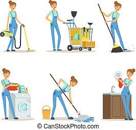 professionale, pulizia, service., donna, pulitore, fare, un po', lavori domestici