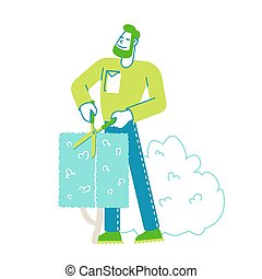 professionale, scissors., lavori in corso, frutteto, siepe, maschio, cespuglio, taglio, yardwork, garden., contadino, maintenance., carattere, giardiniere, vettore, lavoratore, illustrazione, uomo, lineare, guarnizione, occupazione, potare, arbusto