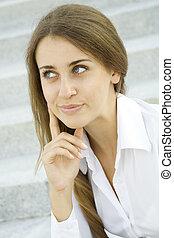 professionale, sorridente, donna, affari