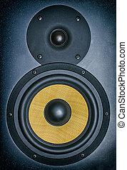 professionale, studio musica, monitor., close-up.