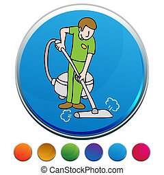 professionale, tappeto, pulitore, bottone, set