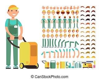 professionale, uomo, pulitore, in, pulizia, servizio, uniforme