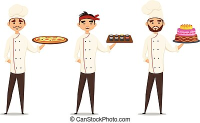Professionals character set. Smiling multicultural Chefs