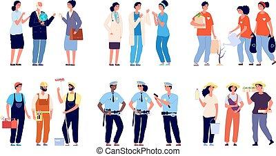 professionals., granjeros, ilustración, reparador, grupos, characters., vector, policías, volunteers., aislado, profesiones, trabajadores, servicio social, doctors, esencial, profesores, diferente