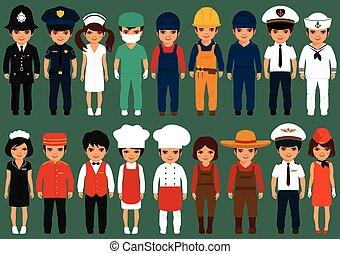 professione, cartone animato, lavorante, persone