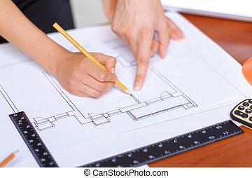 professioneel, architect, tekening, vervaardiging
