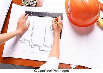 professioneel, architect, vervaardiging, tekening