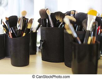 professioneel, borstels, set, schoonheidsmiddel