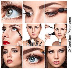 professioneel, collage., details, make-up