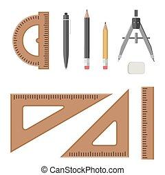 professioneel, equipment., architecturaal