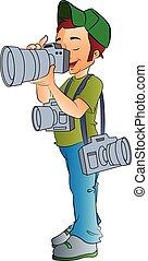 professioneel, fotograaf, illustratie