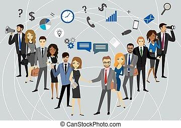 professioneel, groep, twee, handel team