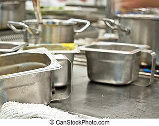 professioneel, keuken pot