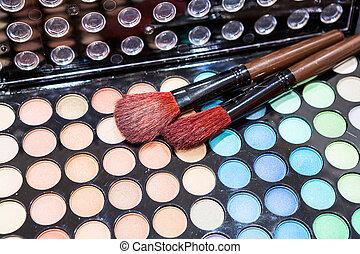 professioneel, oogschaduw, borstels, multi-colored, make-up