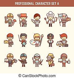 professioneel, set, karakter