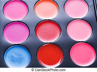 professioneel, set., makeup, veelkleurig, palet