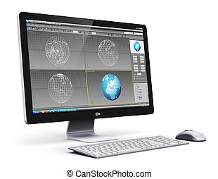 professioneel, werkstation, computer, desktop