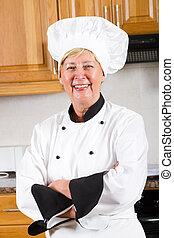 professionel, senior, køkkenchef, portræt