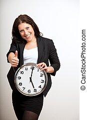professionell, affär, holdingen, klocka