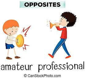 professionell, amateur, wörter, gegenüber