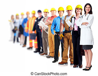 professionell, arbetare, group.