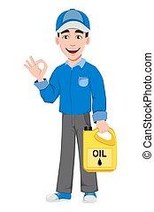 professionell, auto mechaniker, uniform