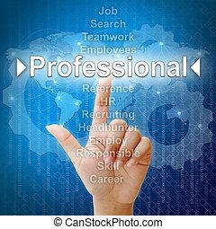 professionell, begriff, wort, ressourcen, menschliche