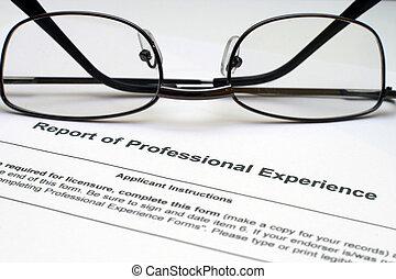professionell, erfarenhet, bilda