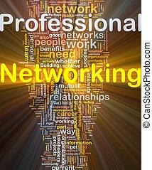 professionell, glühen, begriff, networking, hintergrund