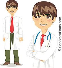 professionell, hübsch, doktor