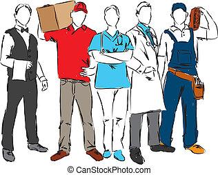 professionell, karriärer, ocuppations, illinois