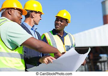 professionell, konstruktion arbetare, och, arkitekt