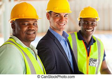 professionell, konstruktion, chef, och, arbetare