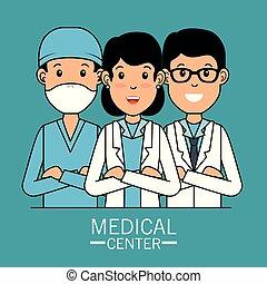 professionell, läkar lag, centrera, tecknad film