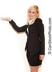 professionell, le, saleswoman, blondin