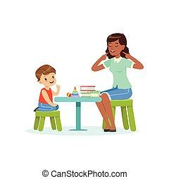 professionell, logopedie, für, vorschulisch, kind, mit, therapeut, in, kindergarten., freigestellt, wohnung, vektor