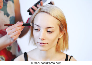 professionell, make-up, bewerben, makeup., künstler