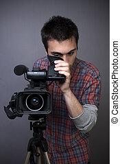 professionell, mann, video, junger, camcorder