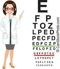 professionell, optiker, kvinnlig