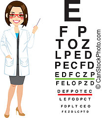 professionell, optiker, weibliche