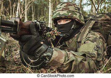 professionell, skarpskytt, i aktion