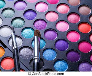professionell, smink, set., palett, flerfärgad, ögonskugga