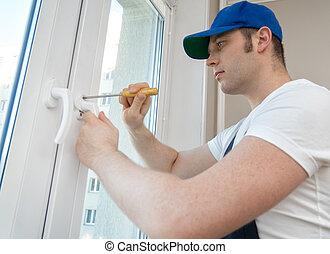 professionell, tusenkonstnär, fixa, fönster hantera, hos, home.