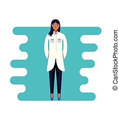 professionell, zeichen, avatar, weiblicher doktor